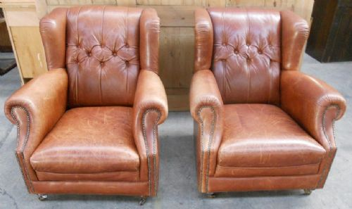 Pair Leather Antique Victorian Style Wing Fireside Easy Armchairs